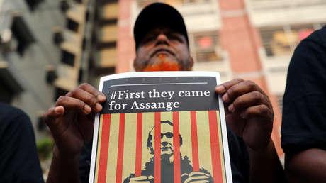 Manifestación contra el encarcelamiento de Julian Assange.