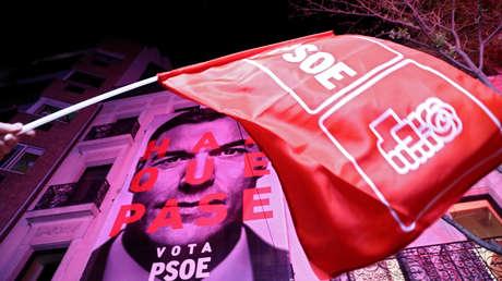 Celebraciones en la sede del PSOE, Madrid, 28 de abril de 2019.