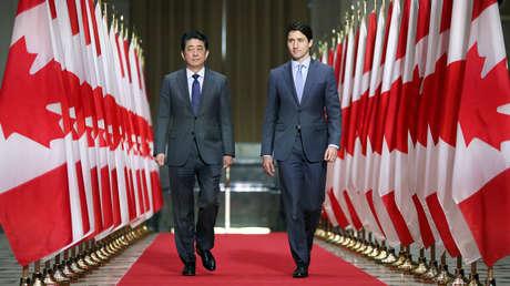 Los primeros ministros de Japón y Canadá, Shinzo Abe y Justin Trudeau, 28 de abril de 2019.