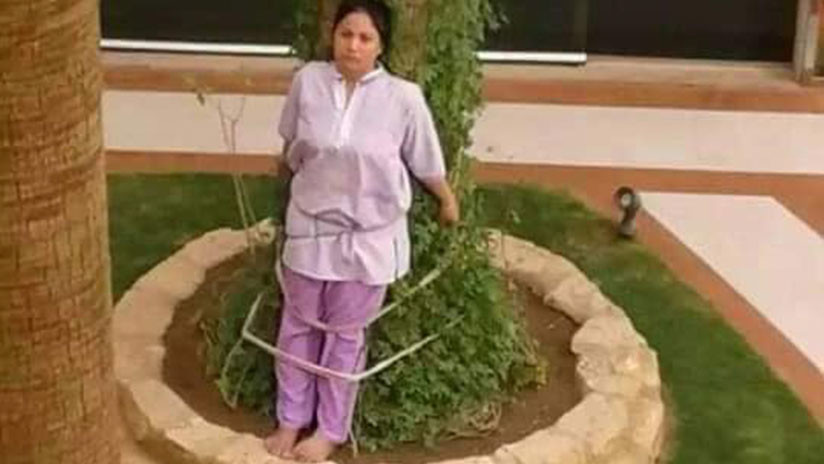 Un patrón adinerado de Arabia Saudita castiga a una criada filipina atándola a un árbol (FOTOS)