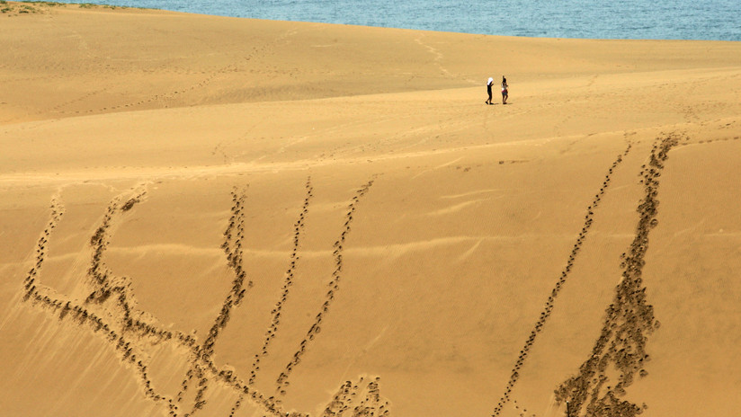 'Grafitis de arena' hechos por turistas en Japón obligan a las autoridades a tomar medidas (FOTO)
