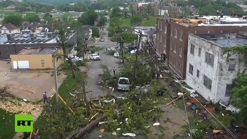 VIDEO: Un dron capta la destrucción en la capital de Misuri tras un tornado