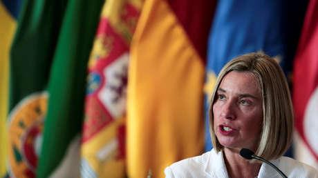 Federica Mogherini en rueda de prensa tras una reunión del CIG en San José, Costa Rica, 7 de mayo de 2019.