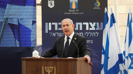 El primer ministro israelí, Benjamín Netanyahu, durante una conmemoración del Día de los Caídos en Israel, el 7 de mayo de 2019.
