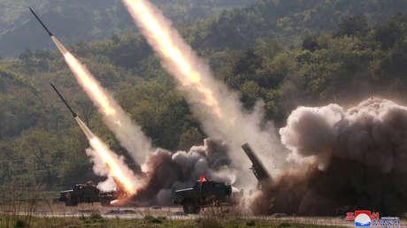 Un ejercicio militar de Corea del Norte en una foto, difundida el 10 de mayo de 2019 por la agencia KCNA