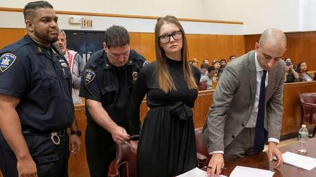 Anna Sorókina tras recibir su sentencia en la Corte Suprema del Estado en Manhattan, Nueva York, 9 de mayo de 2019.