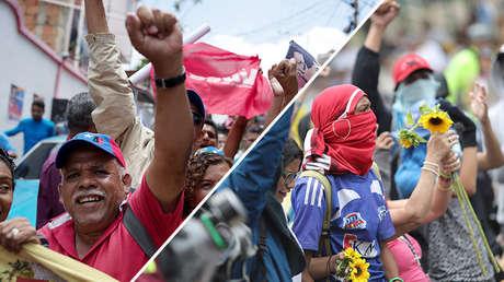 Partidarios del chavismo marchan en Caracas. 16 de mayo de 2018 / Seguidores de la oposición protestan en Caracas. 4 de mayo de 2019.