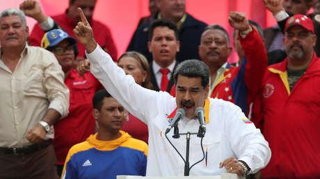 El presidente Nicolás Maduro habla frente a sus seguidores en Caracas, Venezuela. 20 de mayo de 2019.