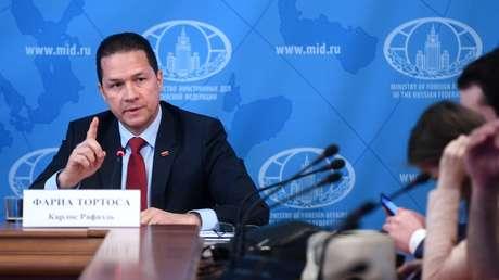 El embajador de Venezuela en Rusia, Carlos Rafael Faría Tortosa, en Moscú, Rusia, el 21 de mayo de 2019