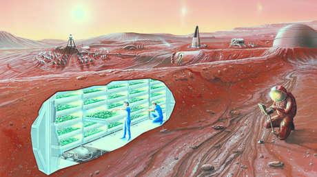 Una concepción artística de una colonia en Marte.