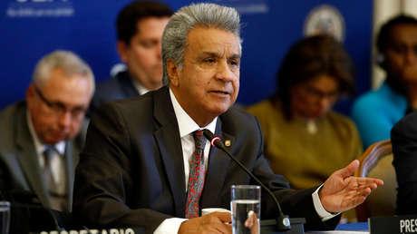El presidente de Ecuador, Lenín Moreno, en la sede de la OEA en Washington, 17 de abril de 2019.