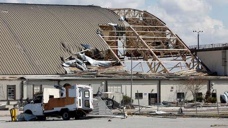 Consecuencias del huracán Michael en la base aérea Tyndall, en Florida, EE.UU., 16 de octubre de 2018.