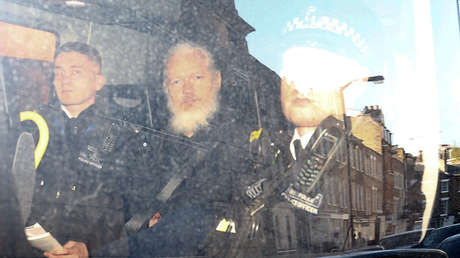 El fundador de WikiLeaks, Julian Assange, tras ser detenido en Londres, Reino Unido, 11 de abril de 2019.