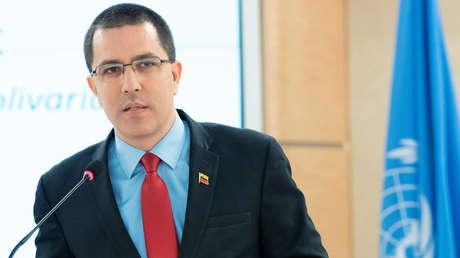 El ministro de Relaciones Exteriores de Venezuela, Jorge Arreaza, en la sede de las Naciones Unidas en Ginebra, Suiza, el 27 de febrero de 2019.