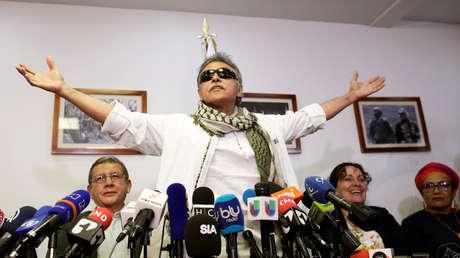 Jesús Santrich reacciona durante una conferencia de prensa en Bogotá, Colombia, 30 de mayo de 2019.