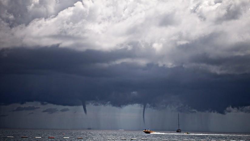 VIDEO: Captan un raro torbellino doble frente a las costas de Tailandia