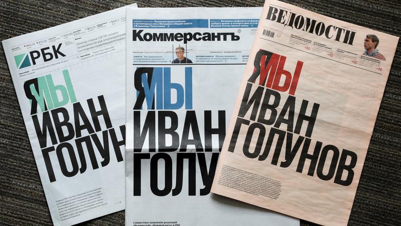 """""""Somos Iván Golunov"""": Periódicos rusos se solidarizan con el periodista detenido por acusación de tráfico de drogas"""
