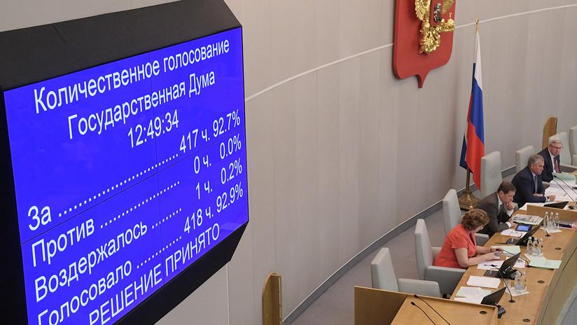 La Duma aprueba una ley para suspender la participación de Rusia en el Tratado sobre misiles de alcance medio y corto