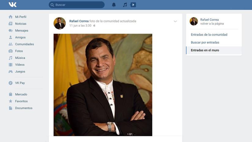 """Correa crea una cuenta en la red social rusa VK """"ante la censura injustificada de Facebook"""""""