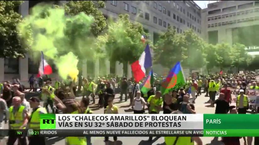 Los 'chalecos amarillos' bloquean vías en su 32º sábado consecutivo de protestas