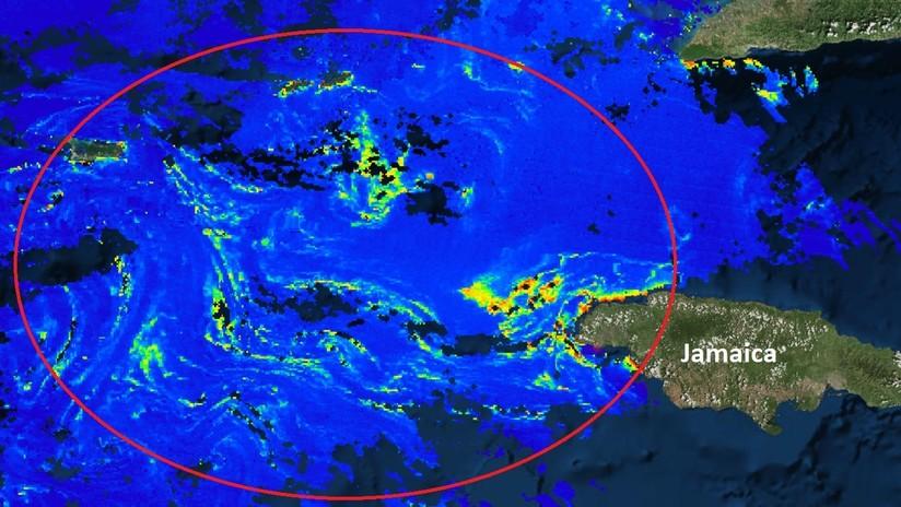 Así se ve desde el espacio la gigantesca mancha de sargazo que amenaza con llegar a las costas de México