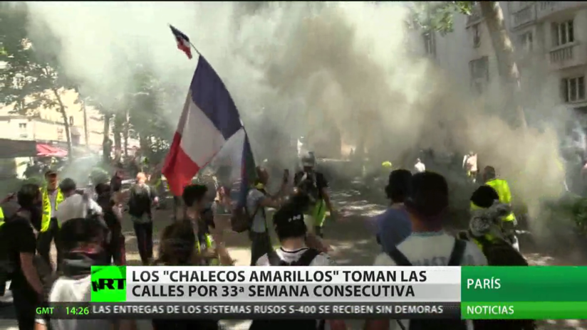 Los 'chalecos amarillos' salen a las calles en su 33.º semana consecutiva de protestas