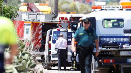 Imagen tomada desde el lugar del accidente de tráfico en el que perdió la vida José Antonio Reyes en Utrera (Andalucía, España), el 1 de junio de 2019.