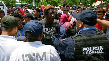 Migrantes centroamericanos en Metapa de Domínguez, México, el 5 de junio de 2019