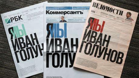 Los periódicos rusos RBC, Kommersant y Védomosti, el 10 de junio de 2019.