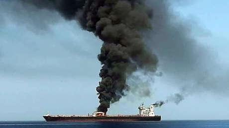 Uno de los buques afectados en el golfo de Omán, el 13 de junio de 2019.