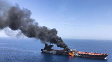 Uno de los petroleros que fueron supuestamente atacados en el golfo de Omán, el 13 de junio de 2019.