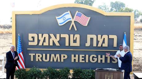 Benjamín Netanyahu y David Friedman inauguran el asentamiento 'Altos de Trump, en los Altos del Golán ocupados por Israel, el 16 de junio de 2019