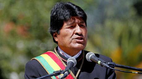 Presidente boliviano, Evo Morales, habla durante la ceremonia del Día del Mar. La Paz, Bolivia, marzo de 2019.