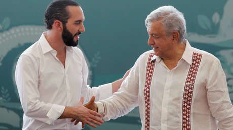 El presidente Andrés Manuel López Obrador y Nayib Bukele en Tapachula, Chiapas, 20 de junio de 2019.