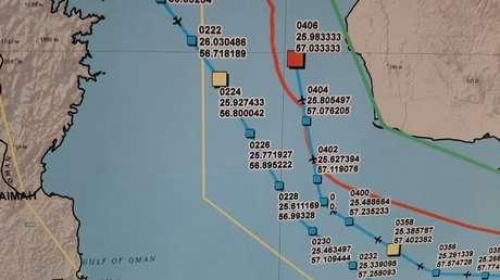 El mapa con la ruta y el punto de derribo del dron de EE.UU.