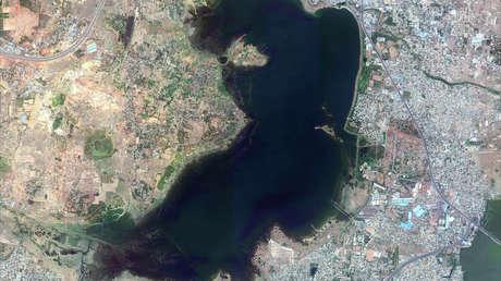 Imagen satelital del reservorio de Puzhal en Chennai, India, tomada el 15 de junio de 2018.