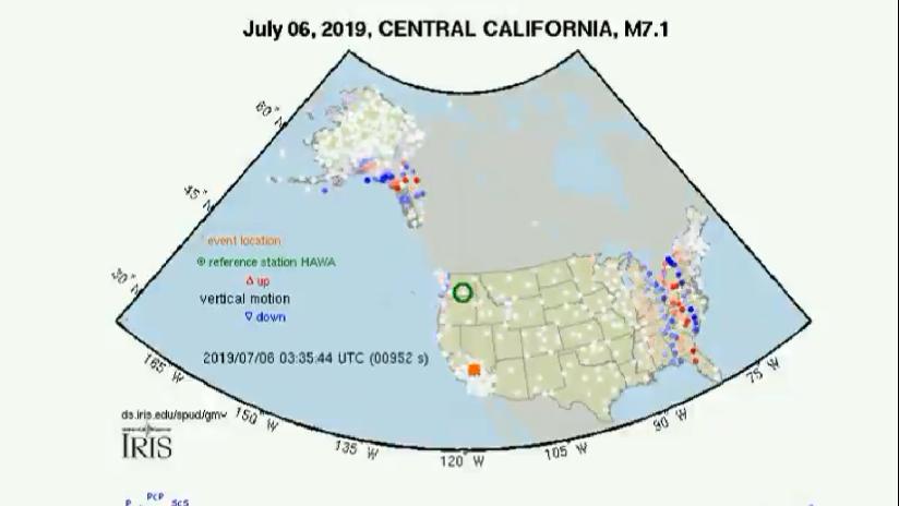 VIDEO: Muestran cómo las ondas sísmicas se propagan por todo EE.UU. tras el terremoto de 7,1 en California