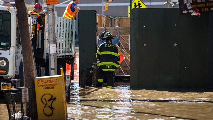 VIDEOS: Fuertes lluvias convierten en ríos las calles de Nueva York