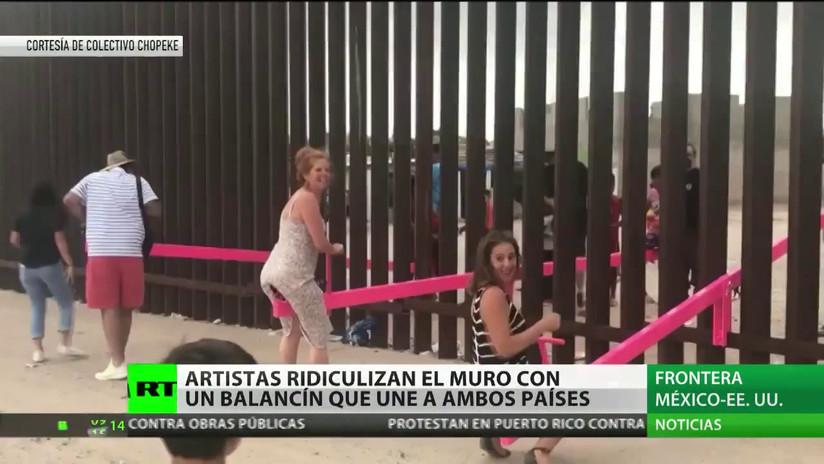 Artistas mexicanos 'destruyen' el muro fronterizo entre México y EE.UU. con balancines que unen ambos países