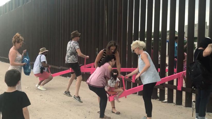 VIDEO, FOTOS: Mexicanos 'desmontan' el muro fronterizo con EE.UU. con balancines que unen a gentes de ambos países