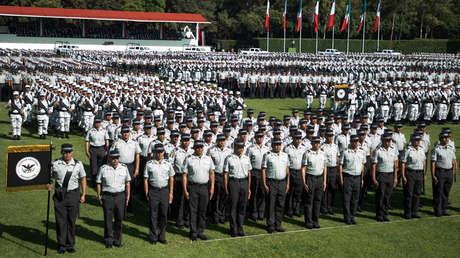Elementos de la Guardia Nacional durante el acto de presentación en Campo Marte, Ciudad de México, el 30 de junio de 2019.