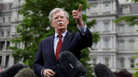 U.S. national security adviser John Bolton talks to reporters at the White House in Washington, U.S., May 1, 2019.