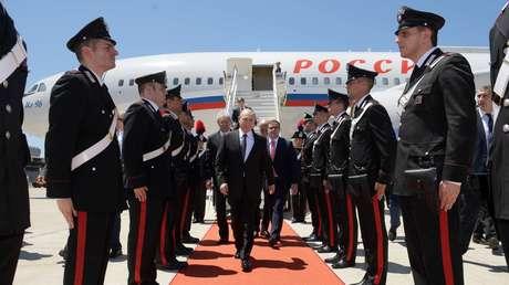 Vladímir Putin llega al aeropuerto internacional de Roma en Fiumicino, 4 de julio de 2019.