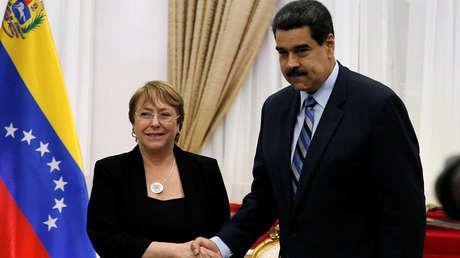 Bachelet junto a Maduro en Caracas, Venezuela, 21 de junio de 2019.