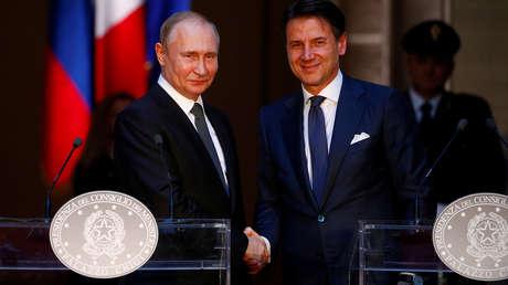 Vladímir Putin y Giuseppe Conte en Roma, Italia, el 4 de julio de 2019