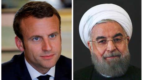 Emmanuel Macron y Hasán Rohaní