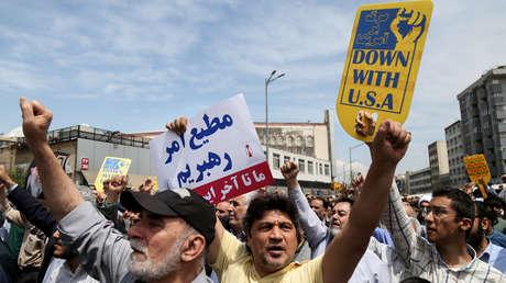 Protesta contra la decisión de EE.UU. de abandonar el acuerdo nuclear JCPOA, Teherán, Irán, 2018.