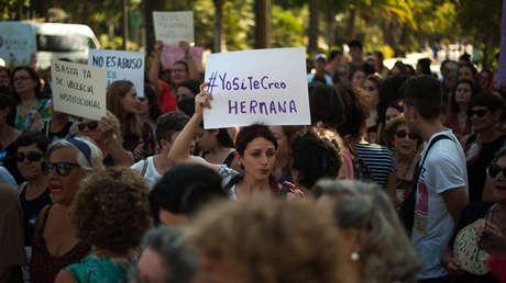 Protesta en apoyo a la víctima de violación en Manresa. Málaga, España, 8 de julio de 2019.