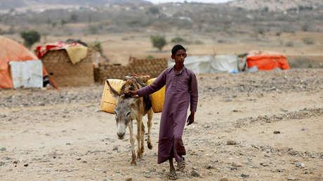 Campamentos improvisado para desplazados en la provincia de Hajja, Yemen, 18 de febrero de 2019.