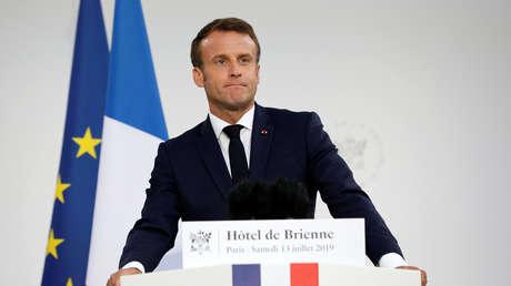 El presidente de Francia, Emmanuel Macron, en el Ministerio de Defensa francés, 13 de julio de 2019.